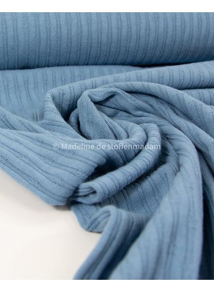 mooie fijne structuur tricot met ribbeltje - dolfijnblauw