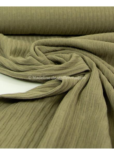 mooie fijne structuur tricot met ribbeltje - khaki