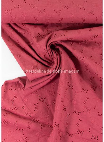 nice embroidery cotton - big flower - raspberry