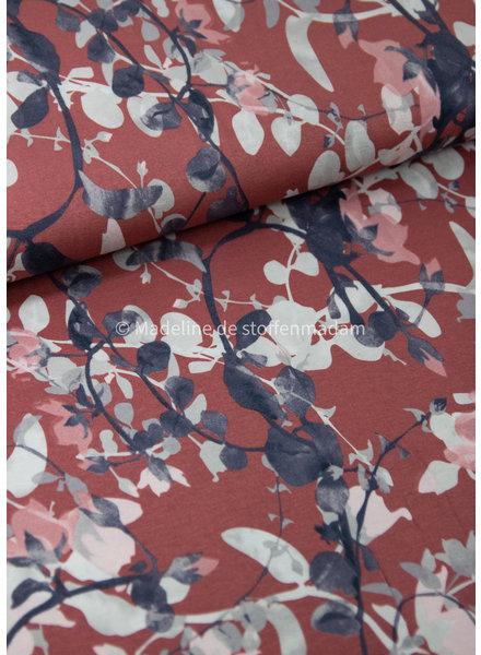 geschilderde bladeren marsala  - viscose tricot