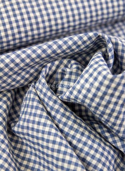 Fibremood blauw vichy ruitjes - seersucker
