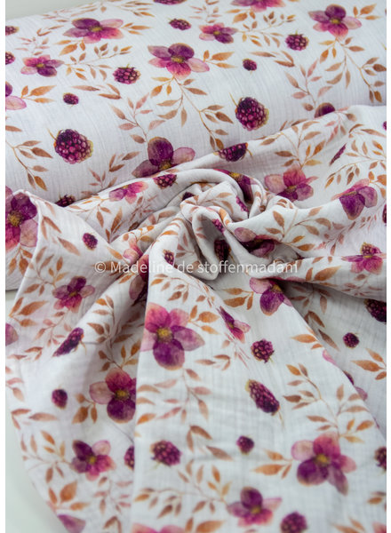 lila bloemetjes - nature - tetra/double gauze