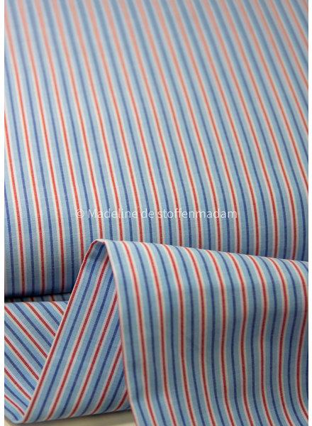 rood blauw dunne streepjes - katoen - hemdenkwaliteit