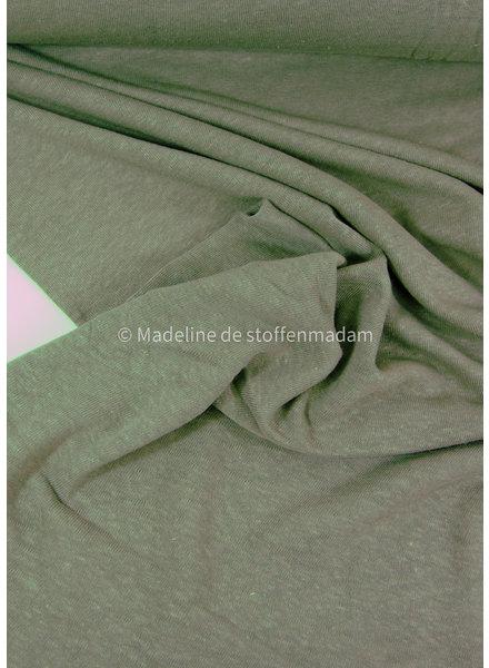 khaki - rekbare gebreide linnen viscose mix - linnen tricot