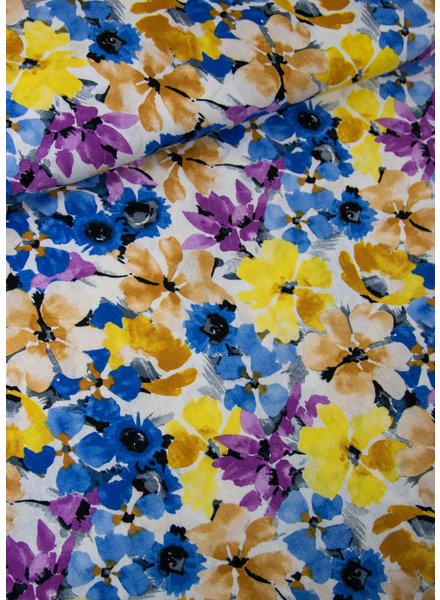 zomer bloemen - linnen viscose blend