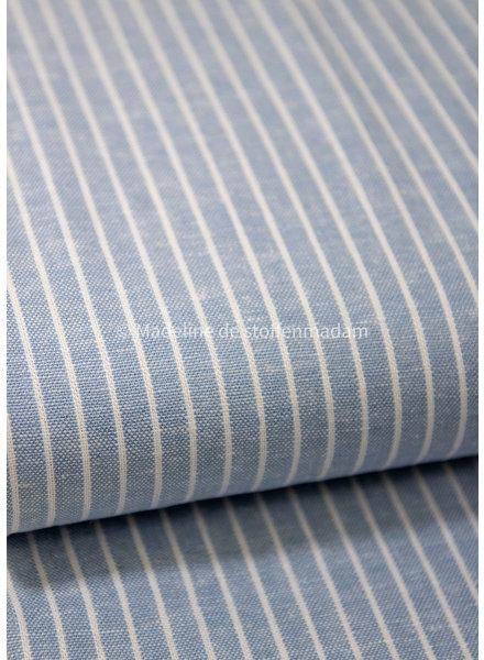 lichtblauw brede strepen - linnen viscose blend