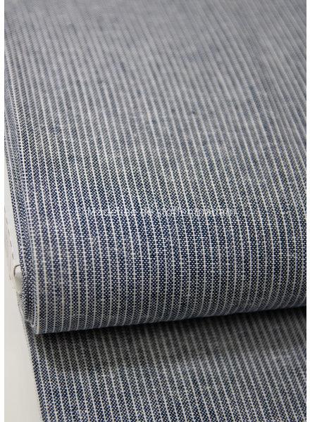 indigo stripes - linen viscose blend