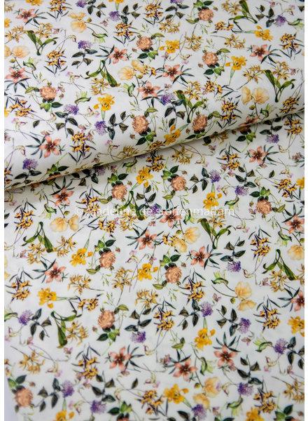 printed flowers creme - viscose twill