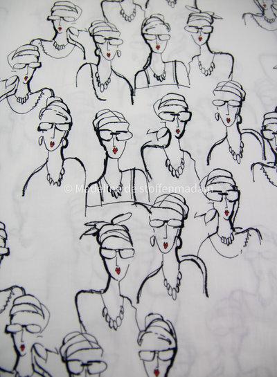 Editex ladies with glasses - black white supple cotton