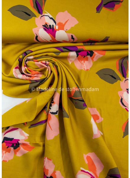 Editex pink flowers on ochre - viscose
