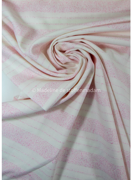 Editex pink embroided lines - viscose cotton