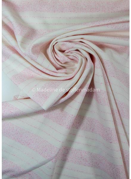 Editex roze geborduurde lijnen - viscose katoen