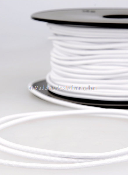white - round rayon elastic 3mm