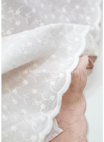 M ecru daydream embroidery cotton - scallop border