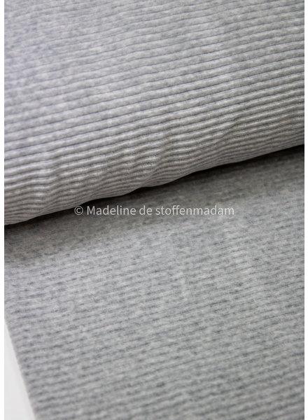 grijs melee rekbare katoen corduroy - brede ribbel