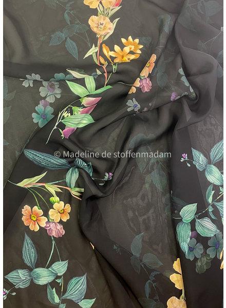 nachtblauw mooie bloemen - viscose voile