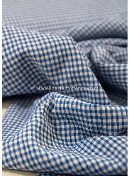 M denim blue squares - seersucker