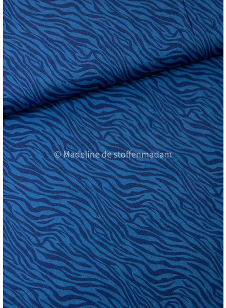 zebra blauw - katoen
