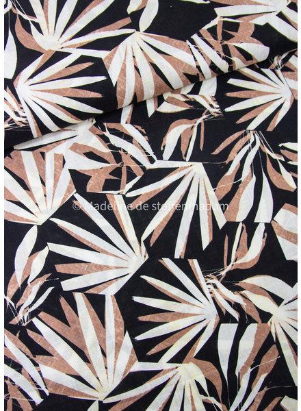 zwart bladeren  - katoen viscose blend