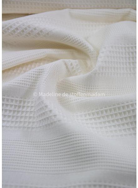 Bio waffle cotton mix - ecru