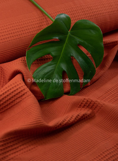 Bio waffle cotton mix - mandarin