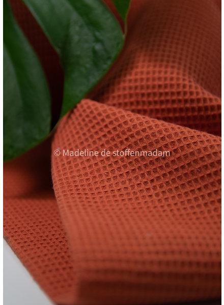 Bio waffle cotton fijn - mandarin