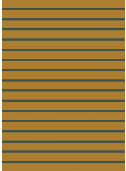 ocre and dark green stripes - organic french terry