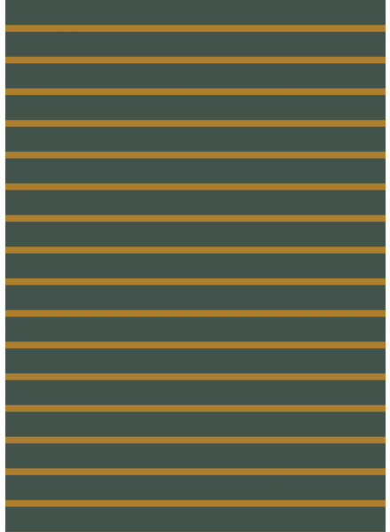 dark green and ocre stripes - organic french terry