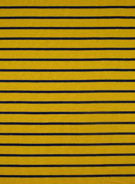 ocre and blue stripes - organic french terry