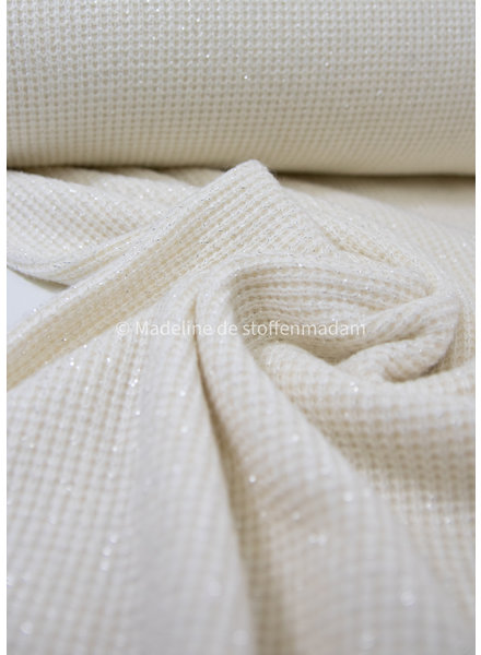 offwhite - soft knitted viscose jacquard with lurex