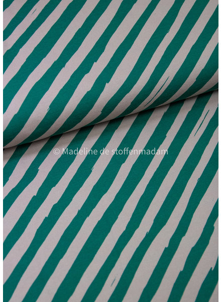 Swafing BOTTLE green diagonal striped - french terry