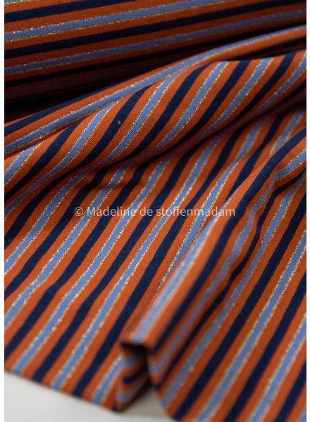 stripes - copper and navy blue lurex - jersey