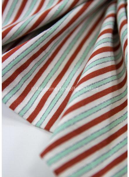 streepjes rood en mint lurex - tricot