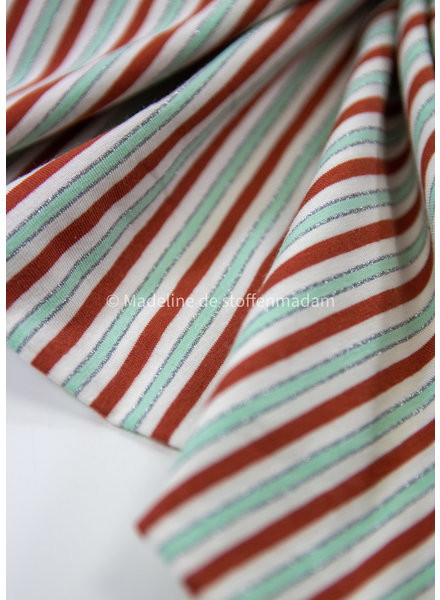 stripes red and mint lurex - jersey