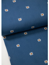 jeans blue daisies embroidery - tetra / double gauze