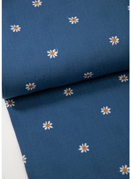 jeansblauw margrietjes broderie - tetra / double gauze
