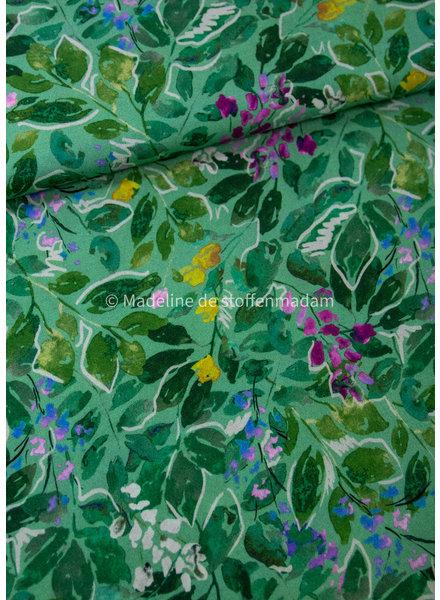 Fibremood groen painted leaves  - viscose