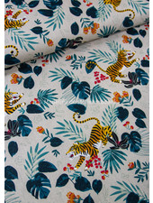 playing tiger- linen look canvas