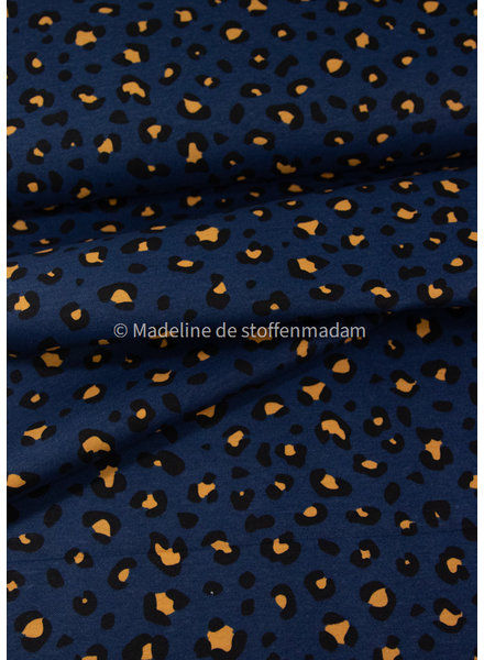 leopard print - marineblauw canvas