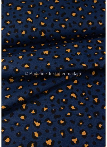 leopard print - royal blue canvas