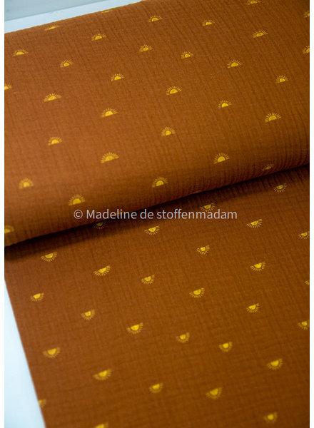 organic zonnetjes cognac - double gauze /  tetra GOTS label