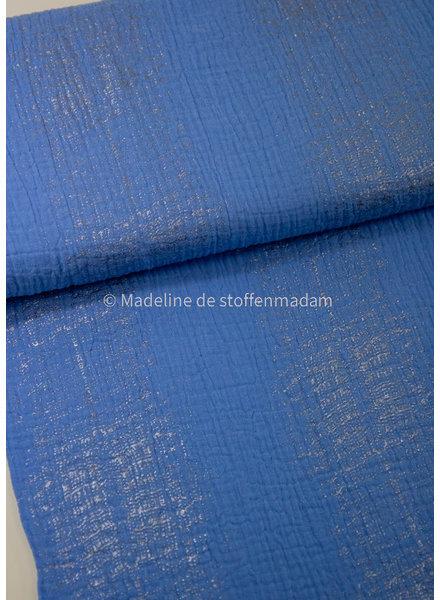 blauw subtiel glitter - double gauze / tetra