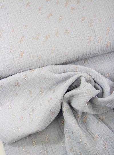 light blue silver stripes - double gauze / tetra