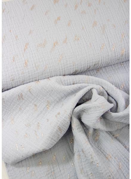 lichtblauw zilver streepjes - double gauze / tetra