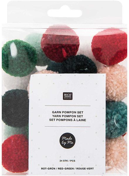 rood/groen - pompon set