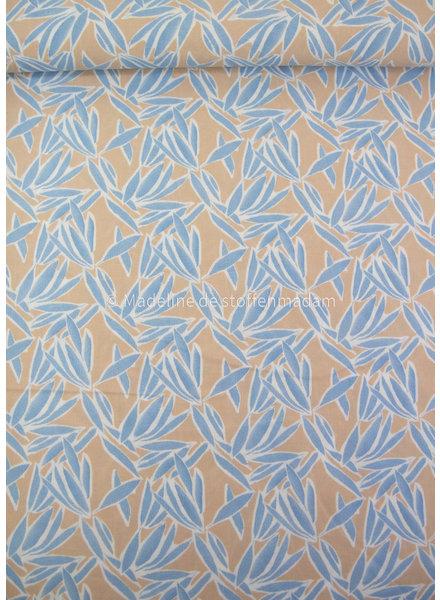 taupe ice blue ferns - viscose