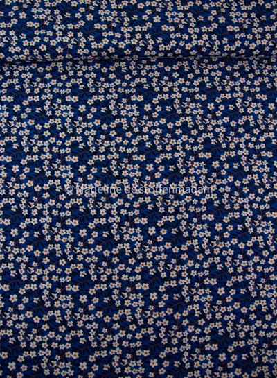 bloemenveld - kobaltblauw viscose