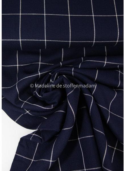 squares navy blue - viscose linen blend