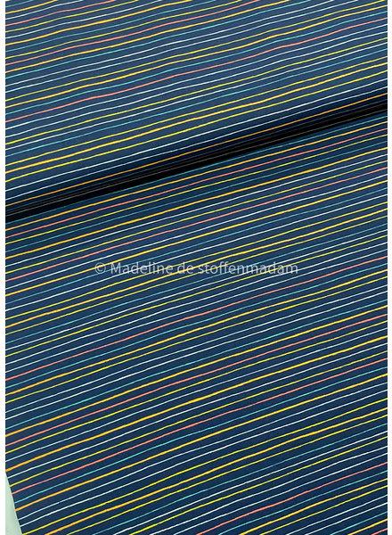 Poppy fabrics stripes into space navy - cotton
