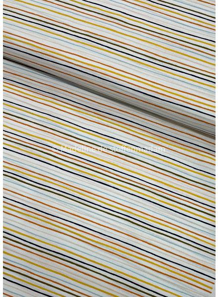 Poppy fabrics stripes into space white - cotton